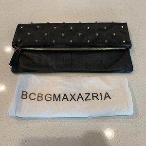 BCBGMaxAzria Black Studded Leather Foldover Clutch